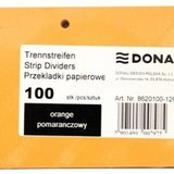 Separatoare carton pentru biblioraft, 190 g/mp, 105 x 235mm, 100/set, DONAU Duo - orange
